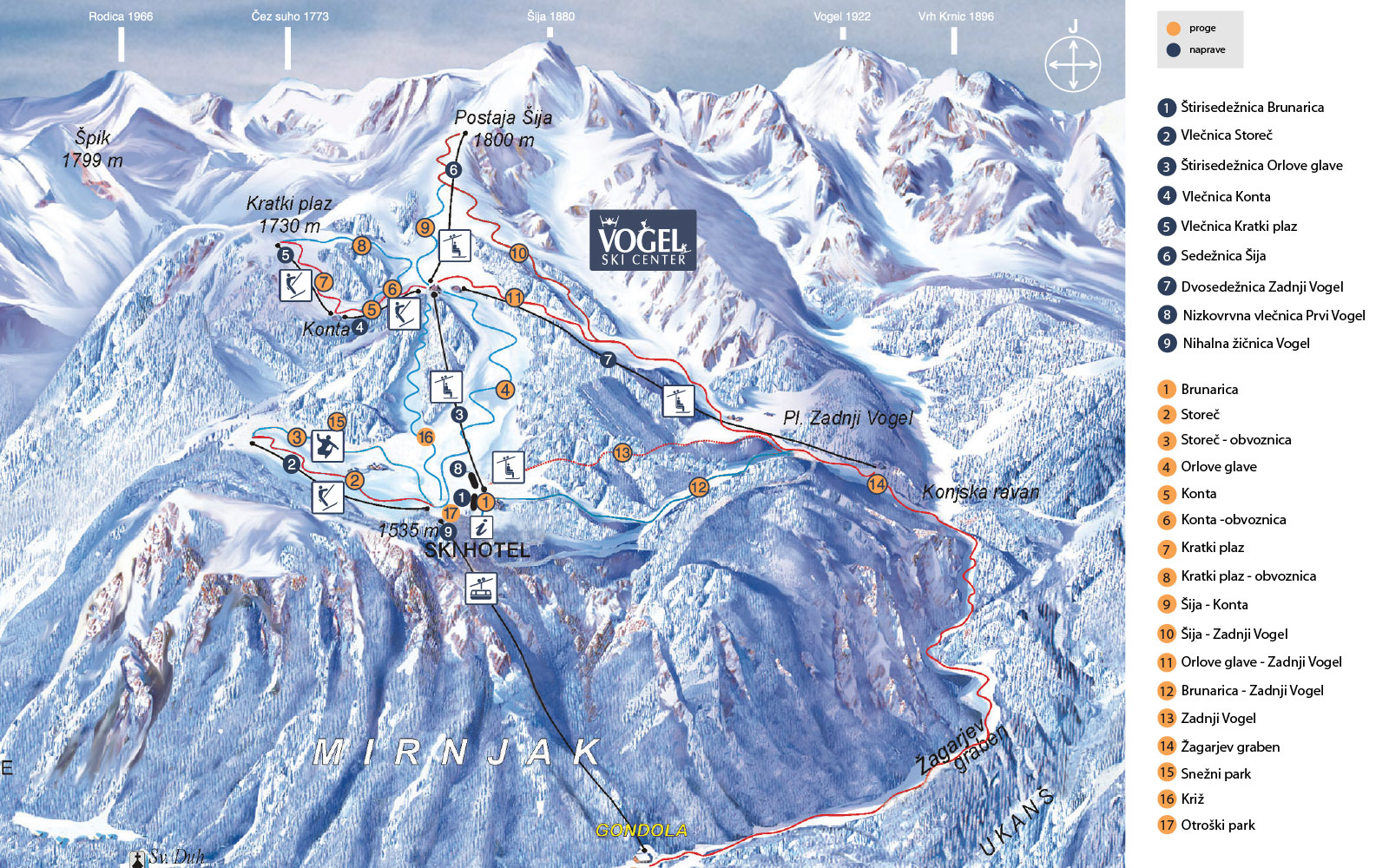 General Map Of Ski Lifts And Slopes